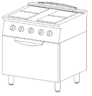 Cucina elettrica 4 piastre e forno elettrico arredamenti e attrezzature per la ristorazione - Piastre per cucinare elettriche ...